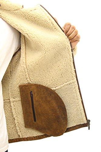 Shearling Laterale Marrone Uomo Pecora Pelle Elegante Di In Giacca Zip wn7Px8Iq