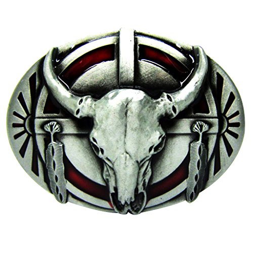 Indians Shield Feather Longhorn Buffalo Skull Belt Buckle Western ()