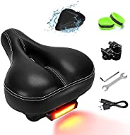NANAPLUMS Bike-Seat-Cushion for Men/Women, Memory Foam Padded Leather Wide Bicycle Seats-Bike Saddle with Tail
