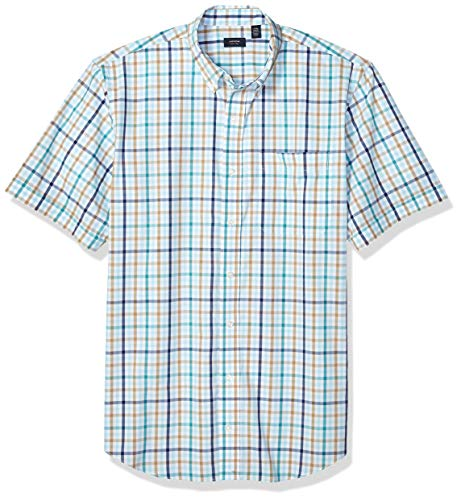 Arrow 1851 Men's Big and Tall Hamilton Poplins Short Sleeve Button Down Plaid Shirt, Crystal Blue, 2X-Large