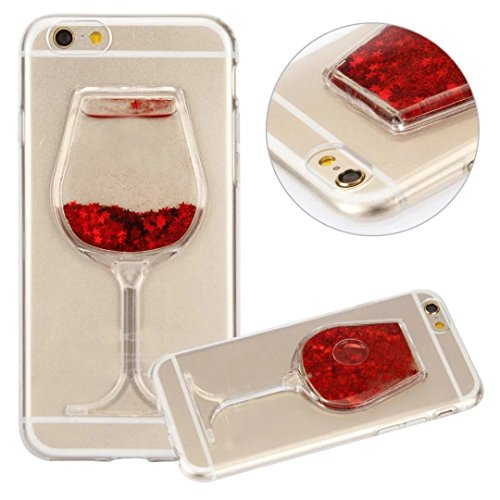 Samsung Galaxy S6 Case,QKKE [Liquid Glitter] Flexible TPU Wine Glass Bling Glitter Love Heart Flowing Silicone Gel Back Case For Samsung Galaxy S6 (Wine Glass/Red)