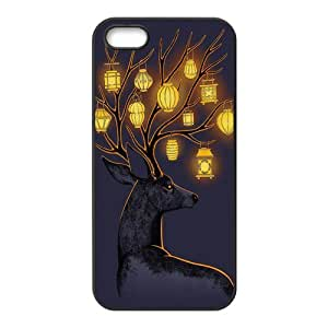iPhone 5 5S Case,Pretty Deer and Beautiful Lanterns Design Cover With Hign Quality Hard Plastic Protection Case