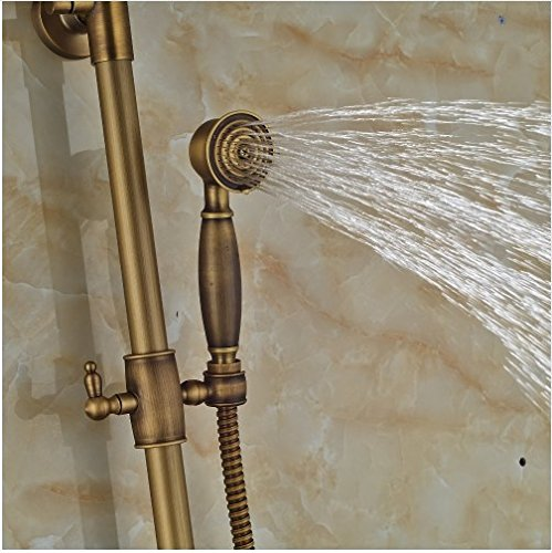 Gowe Antique Brass 8-in Rainfall Shower Set Bathroom Tub Units Single Lever Hot&Cold Faucet 2