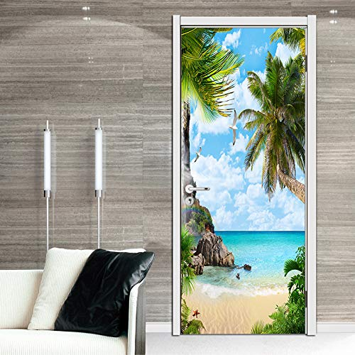 FLFK 3D Palm Tree Beach Door Stickers Wall Mural Wallpaper Vinyl Removable Home Decoration 30.3