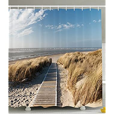 Ambesonne Sea Life Nautical Decor Collection, Path to Ocean Beach Seascape Langeoog Summer Germany, Polyester Fabric Bathroom Shower Curtain Set with Hooks, Blue White Beige