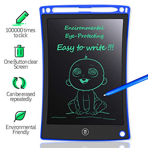 MYMAHDI LCD Writing Tablet, 8.5 inch Doodle Board, Electronic Drawing & Writing Board, with Smart Writing Stylus for Kids Gifts, School,Office, Fridge or Family Memo, Blue
