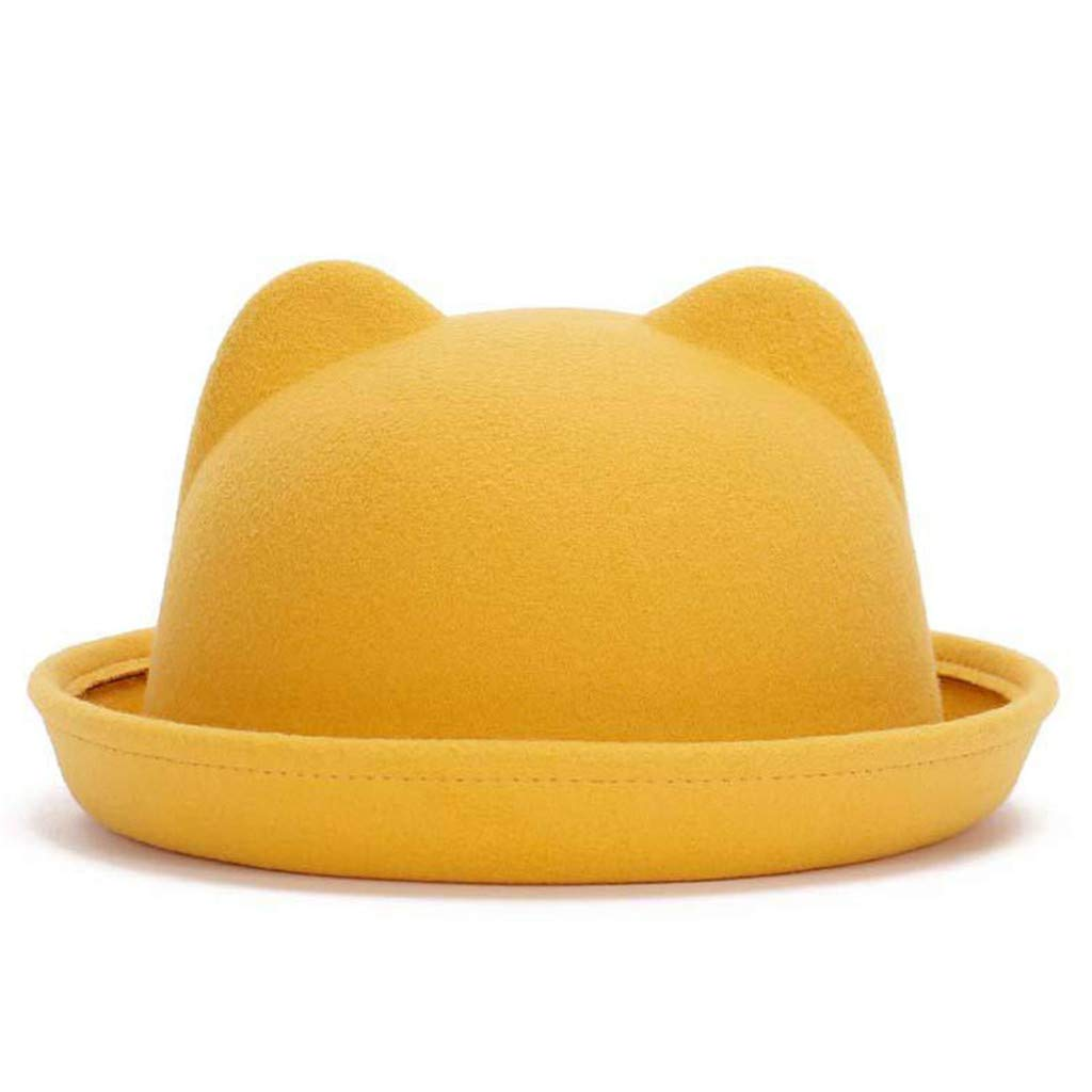 FEDULK Women's Crushable Cute Cat Ear Solid Outback Hat Round Bowler Roll-up Brim Fedora Cap(Yellow, One Size)