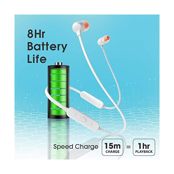 JBL Tune 115BT by Harman in-Ear Wireless Headphones with Deep Bass, 8-Hour Battery Life and Quick Charging (White) 2021 August Deep & Powerful JBL Pure Bass Sound 8 hours of playtime under optimum audio settings Quick Charging - 15min of Charge gives 1 Hour of charge