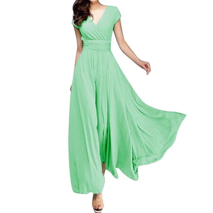 Odejoy Moda Donne Casual Solid Chiffon V-Collo Abito da Sera da Sera  Vestito Donna bde2abecfb2