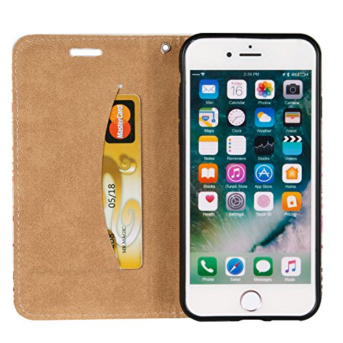 Voguecase® Pour Apple iPhone 7 4,7 Coque, Magnetische Étui en cuir synthétique chic avec fonction support pratique pour Apple iPhone 7 4,7 (plumes noires et blanches)de Gratuit stylet l'écran aléatoir