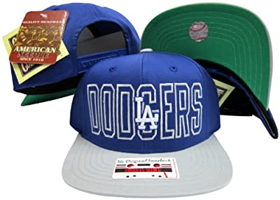 American Needle Los Angeles Dodgers Royal Blue/Grey Two Tone Plastic Snapback Adjustable Snap Back Hat/Cap