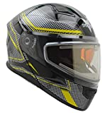 Vega Helmets Unisex-Adult Modular Caldera Electric Snow Snowmobile Helmet with 30% Larger Shield and Sunshield (Yellow Blade Graphic, X-Large)