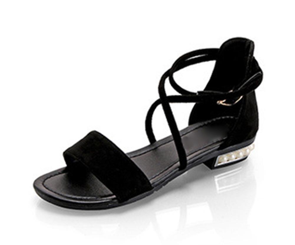 Frauen Sandaleen Sommer Kreuzgurte runde Perle mit niedrigen Absätzen Sandaleen Mode Schuhe
