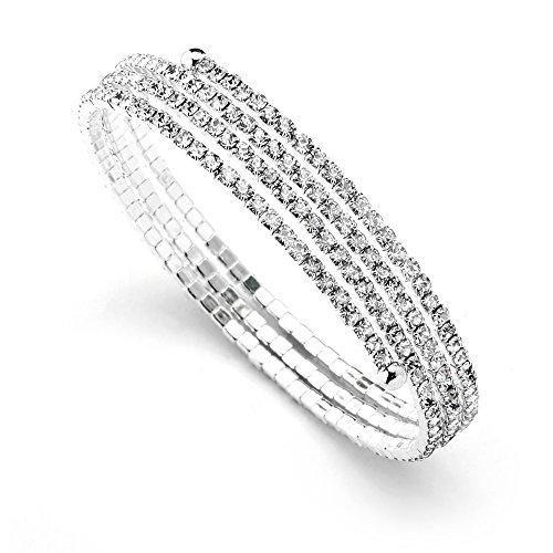 Mariell Austrian Crystal Rhinestone 3-Row Adjustable Coil Cuff Bangle Bracelet for Prom, Wedding & Bridal (Pearl Spiral Bracelet)