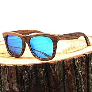 Real Solid Handmade Zebra Wood Wooden Wayfarer Sunglasses for Men & Women, Polarized Lenses (Ice Blue Lens)