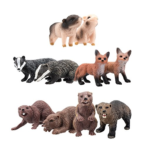 Fox Animal Figurine - TOYMANY 10PCS Mini Size Animal Figures, Realistic Wildlife Animal Figures Toy Set, Excellent Education Gift Favors Playset For Kids Children Toddler