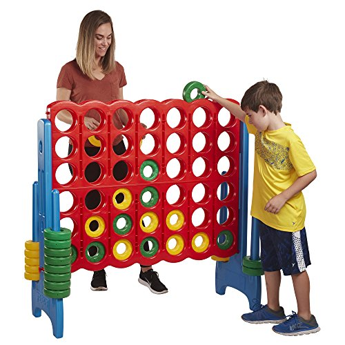 (ECR4Kids Jumbo 4-to-Score Giant Game Set, Backyard Games for Kids, Jumbo Connect-All-4 Game Set, Indoor or Outdoor Game, Adult and Family Fun Game, Easy to Transport, 4 Feet Tall, Primary Colors)