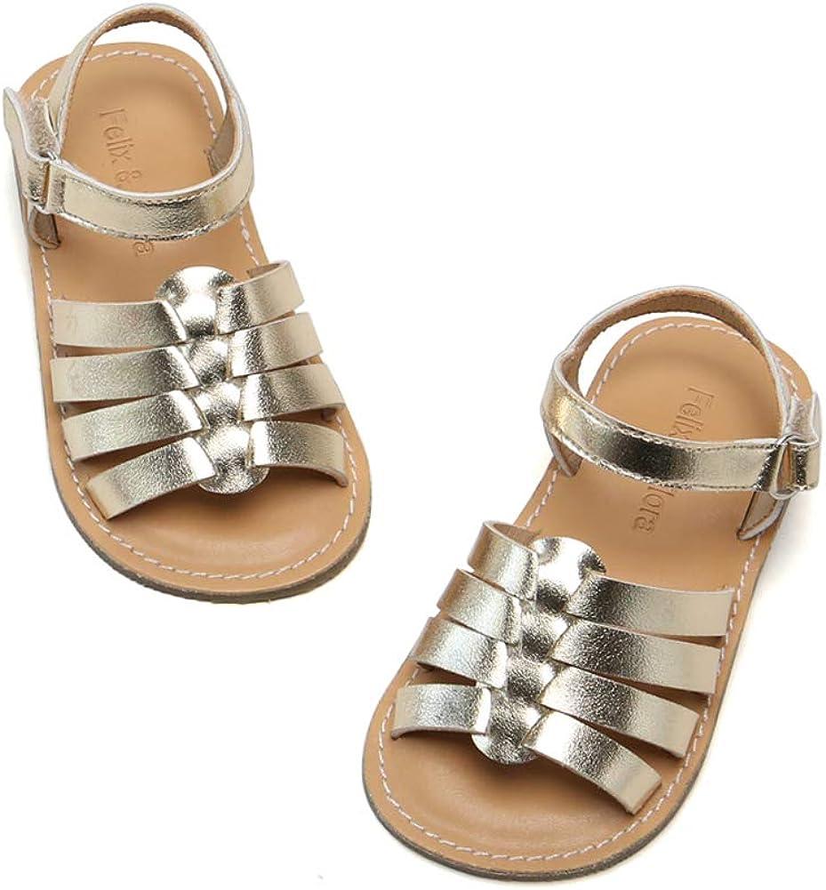 Little Kids Easter Dress Shoes Size 6-12 for Summer Party Wedding School Flats Felix /& Flora Toddler Girl White Gold Sandals