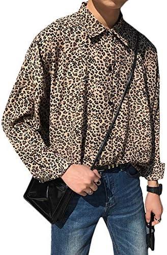 Gergeousメンズ 長袖 シャツ ゆったり ヒョウ柄 トップス 春 メンズ ワイシャツ 韓国ファッション ストリート系