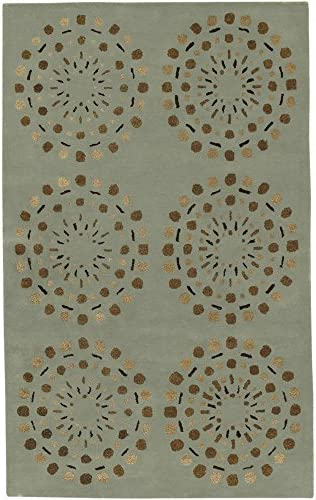 Surya Bombay Contemporary Hand Tufted 100 New Zealand Wool Foggy Blue 9 x 13 Geometric Area Rug