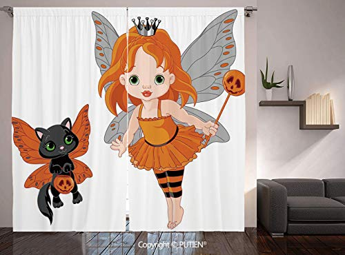 PUTIEN Thermal Insulated Blackout Window Curtain [ Halloween,Halloween Baby Fairy and Her Cat in Costumes Girls Kids Room Decor Decorative,Multicolor ] for Living Room Bedroom Dorm Room Classroom -