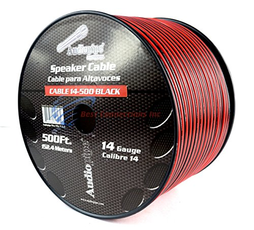 500 FT 14 Gauge Red Black Stranded 2 Conductor Speaker Wire Car Home Audio (500' Lead Wire)