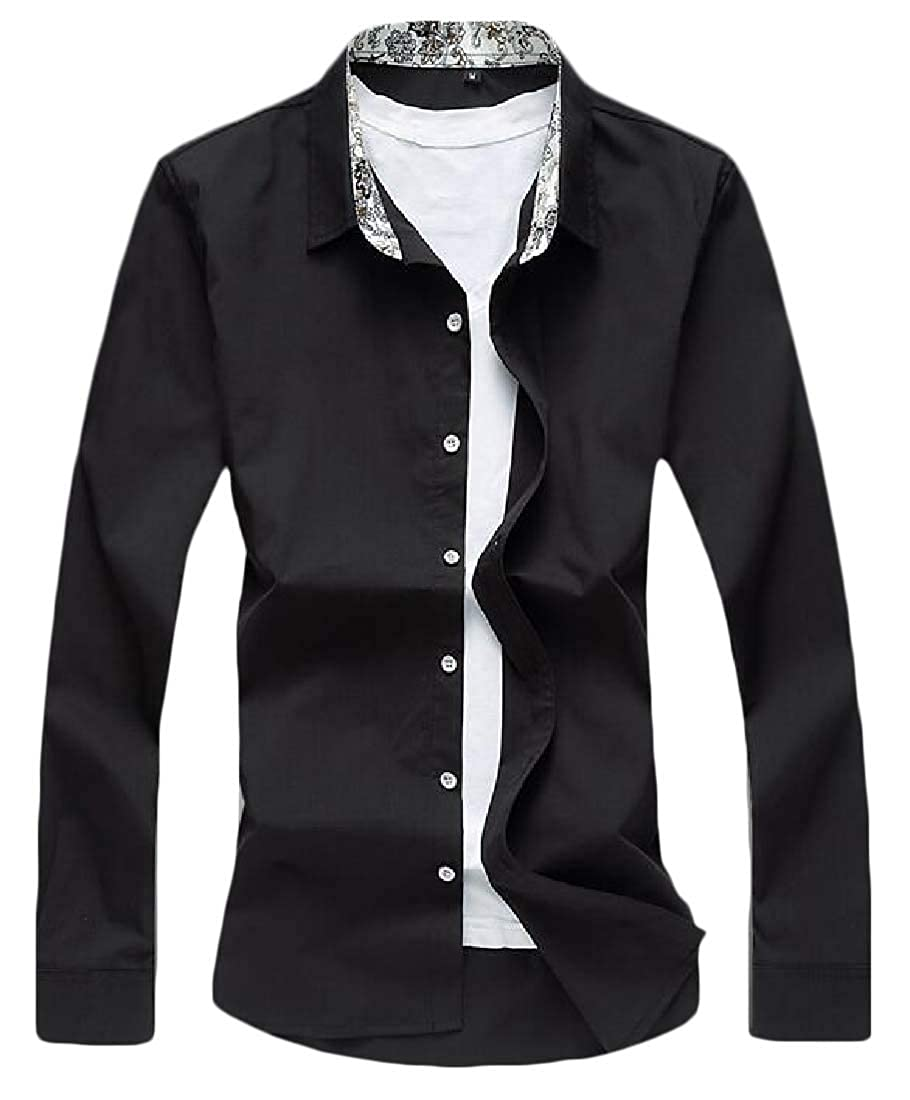 Fensajomon Mens Shirt Slim Fit Plus Size Fall /& Winter Button Down Solid Dress Shirt