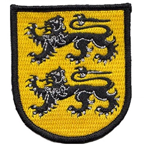 Dos leones escudo bordado parche de gamuza choppershop