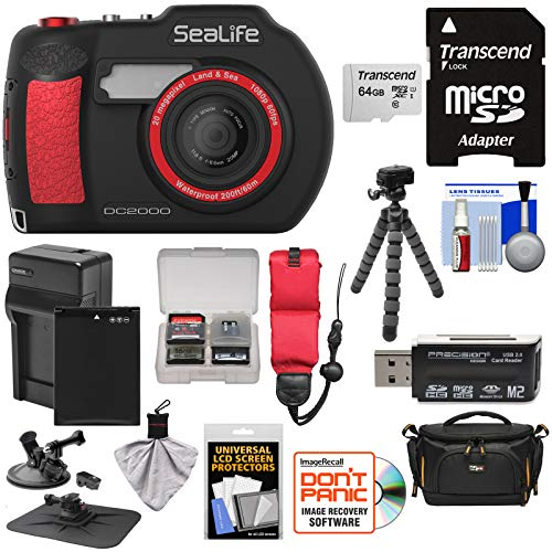 (SeaLife DC2000 HD Underwater Digital Camera with 64GB Card + Battery & Charger + Case + Tripod + Suction Mount + Floating Strap + Kit)