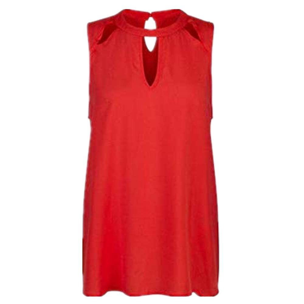 NUWFOR Fashion Women Sexy Solid O-Neck Hollow Out Sleeveless Casual Crop Tank Top(Red,US S Bust:33.01'')