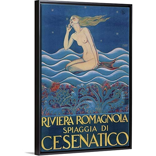 Vintage Apple Collection Floating Frame Premium Canvas with Black Frame Wall Art Print Entitled Riviera Romagnola 12