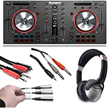 Numark Mixtrack 3 | All-in-one Controller Solution with Virtual DJ LE Software Download + Headphones + Stereo Breakout 10 Foot Cable + Stereo Interconnect Cable + Label a Cable Kit - Top Value Bundle