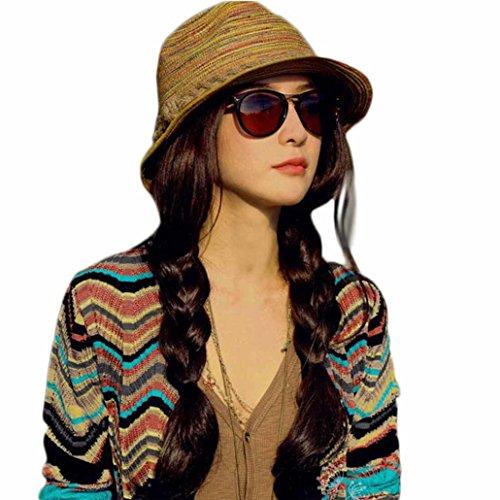 Striped Straw Hat (Mosunx(TM)Summer Autumn Fashion Womens Straw Hat Striped Beach Sun Hat Foldable Hat)