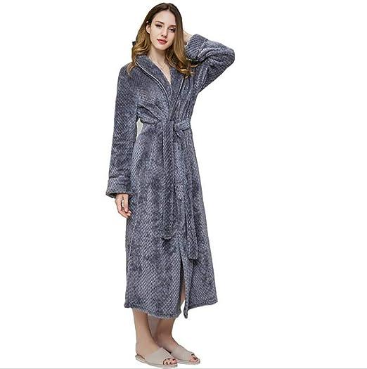 SHANGXIAN Largo Bata Baño Homewear Vestido Mujeres/Hombres Albornoz Franela Camisón Calentar Batas De Baño,Gray(Female),L