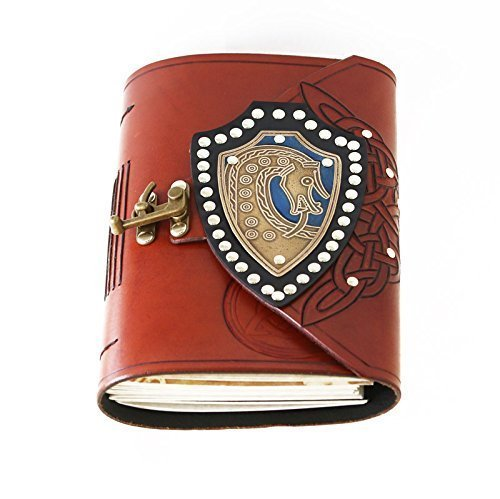 Scar plaque dragon viking grave marker brass shield leather bound journal with blue inlay.