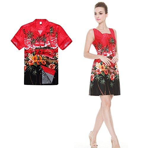 Couple Matching Hawaiian Luau Outfit Aloha Shirt Tank Dress in Dolphin Red Men XL Women XL (Couples Outfit)