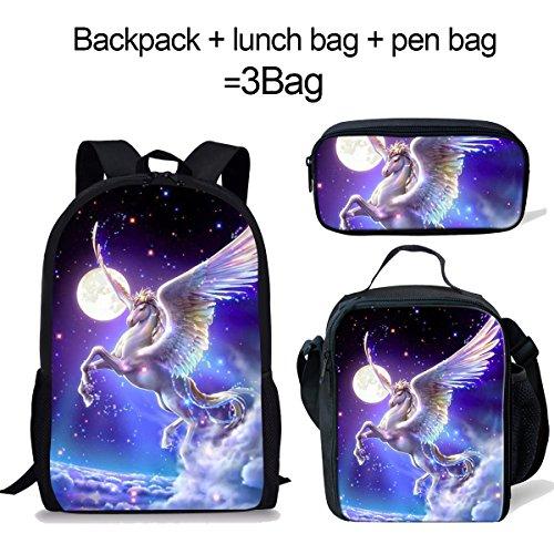 DeePrint Galaxy Horse Backpack Set 3 Piece School Bags for Kdis Boys Lunch Bags Pen Holder