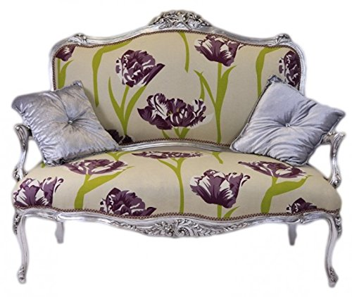 Casa Padrino Barock Creme Blumen Muster / Silber - italienischer Stil - Barock Möbel