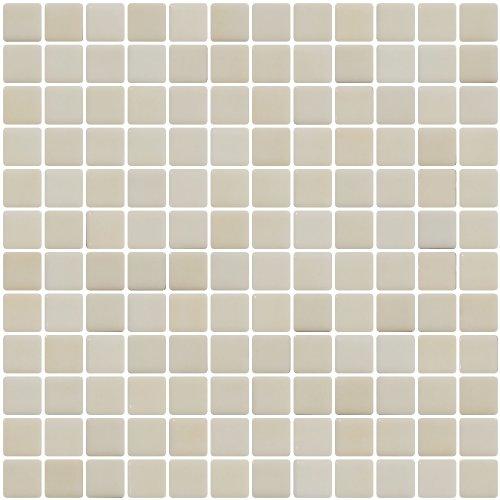 (Susan Jablon Mosaics - 1 Inch Ivory Cream Dapple on White Recycled Glass Tile)