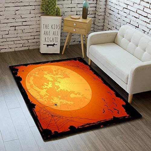 iBathRugs Door Mat Indoor Area Rugs Living Room Carpets Home Decor Rug Bedroom Floor Mats,Orange Halloween Background Spiders -