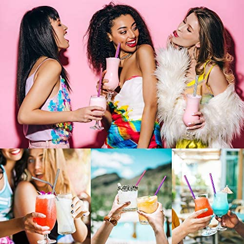 POLIGO 16pcs Reusable Stainless Steel Straws, Colorful Rainbow Drinking Straws, Iridescent Metal Straws with Portable Case and Cleaning Brushes for 20, 30 Oz Yeti Tumbler, Smoothies and Bubble Tea