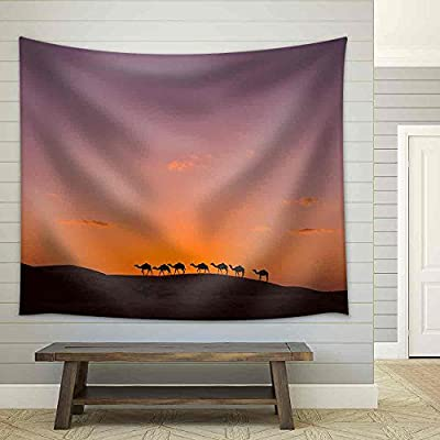 Unbelievable Picture, Camel Caravan in The Desert Fabric Wall, Classic Artwork