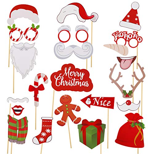 Christmas Photo Booth Props - Sugoiti 2019 Newest 23 Pieces with Funny Xmas Selfie Props Accessories for Adults Kids for Christmas Theme Party Favors Decorations Decor Supplies