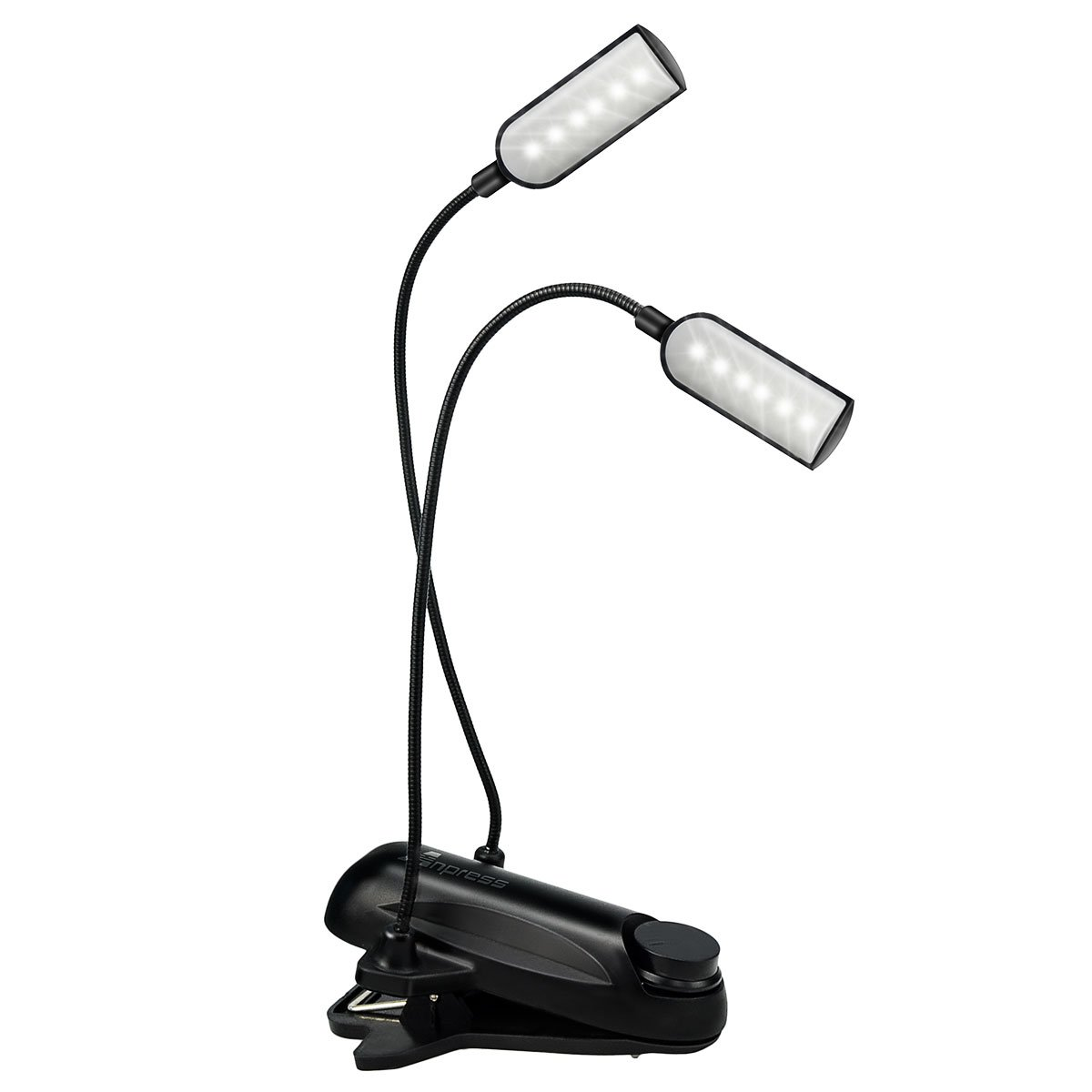 Anpress Music Stand Clip on Lights Dual Head 12 LED USB Rechargeable Timing Function Stepless Dimmable Book Reading Light