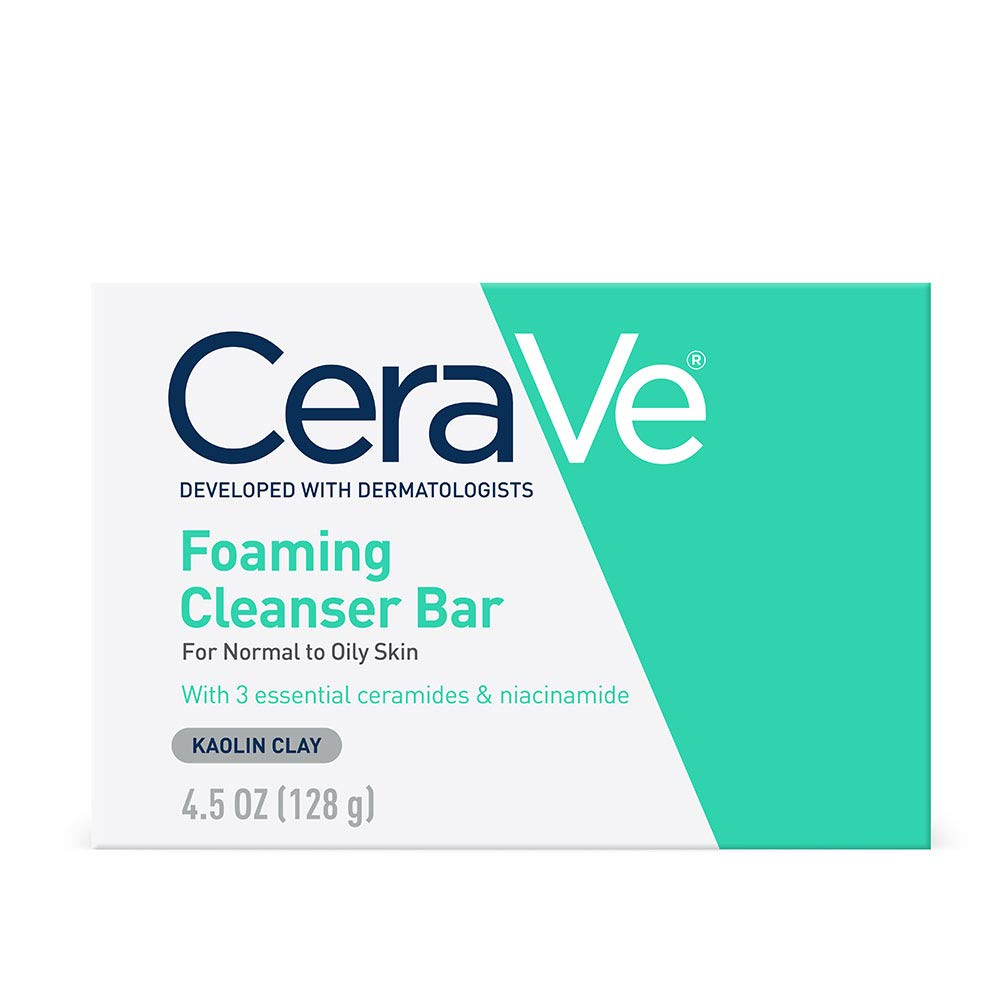 CeraVe Foaming Cleanser Bar   Soap-Free Body and Face Cleanser Bar for Oily Skin   Fragrance Free   4.5 Ounce: Beauty
