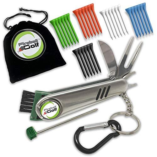Fireball Golf - Golf Divot Tool Gift Set for men with Ball Marker, 6 in 1 Golf Divot Tool Gift Set with valuables pouch, 30 Golf Tee Accessories, Christmas Golf Gifts Men, Women, Dads, Moms, Kids