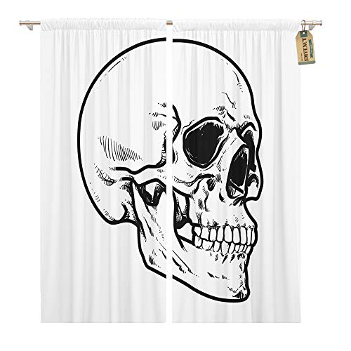 Emvency Window Curtains 2 Panels Rod Pocket Drapes Satin Polyester Blend Line Skull Collection Hard Core Anatomic Anatomy Living Bedroom Drapes Set 104 x 84 Inches ()