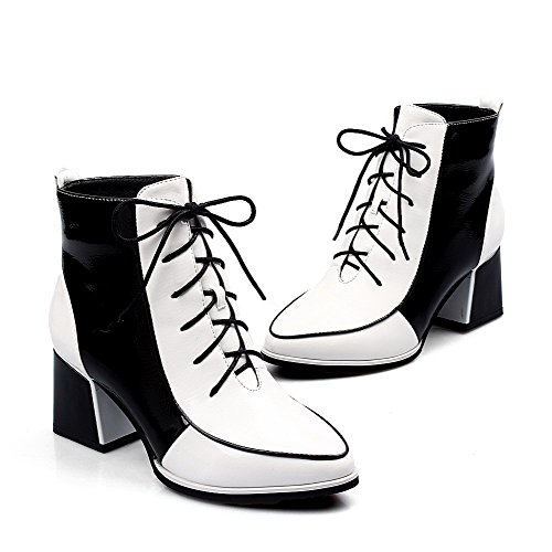 5 Patent with Platform B Closed US Assorted PU Kitten Toe Boots AmoonyFashionWomens Round Heels Color White Leather M 7qxPCYx6Zn
