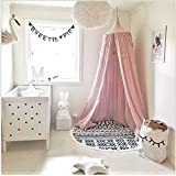 Children Bed Canopy Round Dome, nursery decorations, Cotton Mosquito Net, Kids Princess Play Tents, Room Decoration for Baby (Pink)