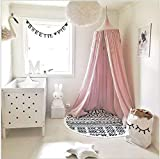 Kunmuzi Children Bed Canopy Round Dome, nursery decorations, Cotton Mosquito Net, Kids Princess Play Tents, Room Decoration for Baby (Pink)